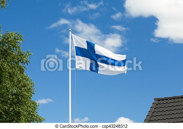 Flag of Finland on sky background. - csp43248312