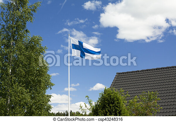 Flag of Finland on sky background. - csp43248316