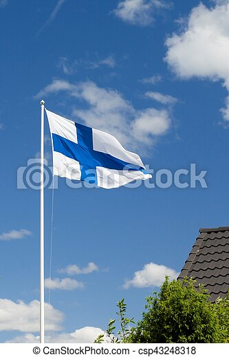Flag of Finland on sky background. - csp43248318