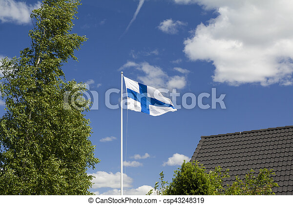 Flag of Finland on sky background. - csp43248319