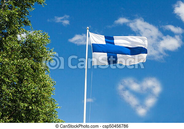 Flag of Finland on sky background. - csp50456786