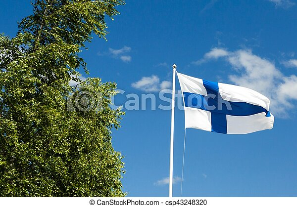 Flag of Finland on sky background. - csp43248320