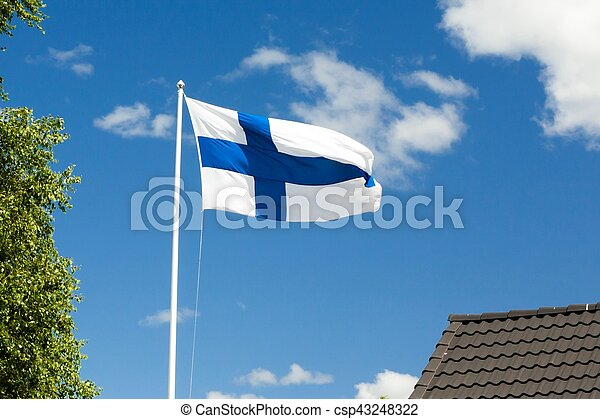 Flag of Finland on sky background. - csp43248322