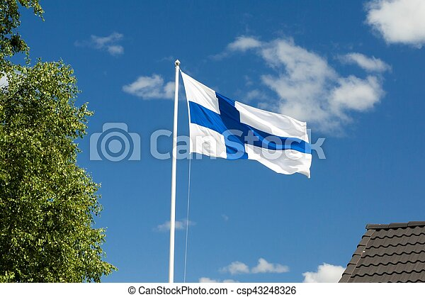 Flag of Finland on sky background. - csp43248326