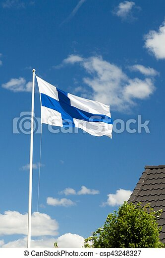 Flag of Finland on sky background. - csp43248327