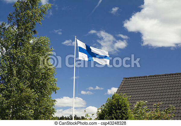 Flag of Finland on sky background. - csp43248328