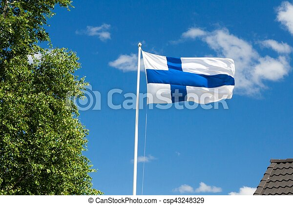 Flag of Finland on sky background. - csp43248329