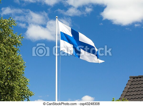 Flag of Finland on sky background. - csp43248308