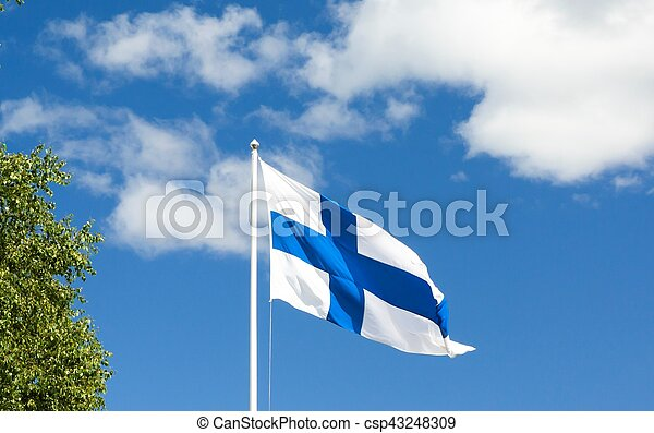 Flag of Finland on sky background. - csp43248309