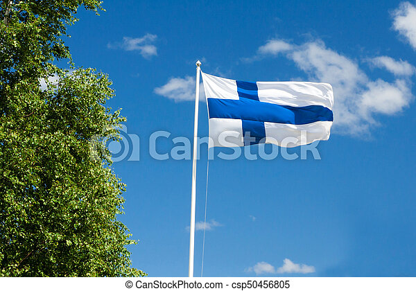 Flag of Finland on sky background. - csp50456805