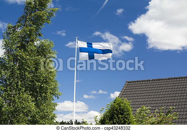 Flag of Finland on sky background. - csp43248332