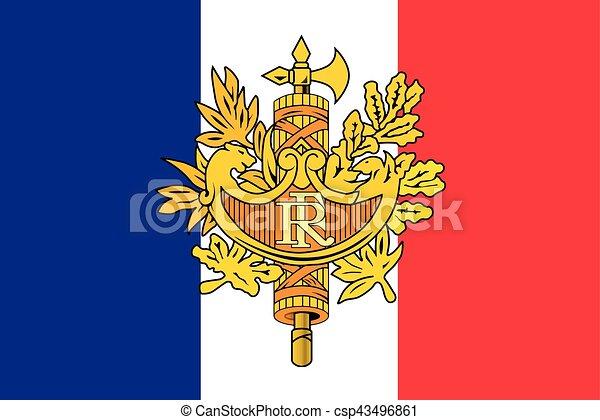 Flag Of France With National Emblem Vector Format