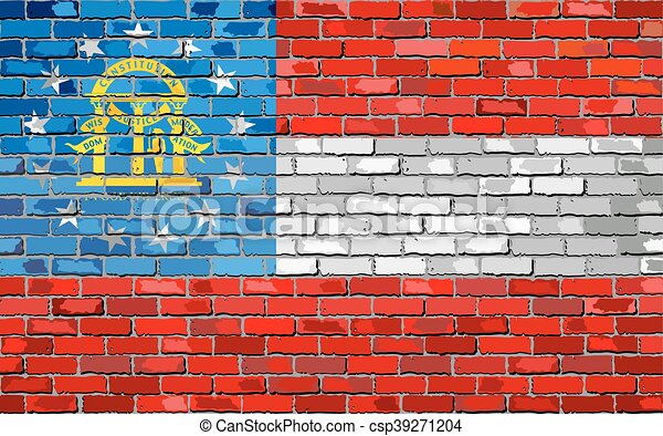 Flag of Georgia on a brick wall - csp39271204