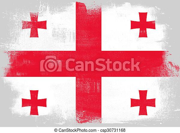 Flag of Georgia painted with brush - csp30731168