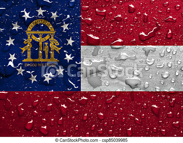flag of Georgia with rain drops - csp85039985