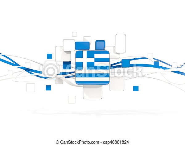Flag of greece, mosaic background with lines - csp46861824