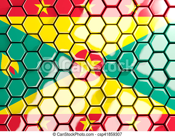 Flag of grenada, hexagon mosaic background - csp41859307