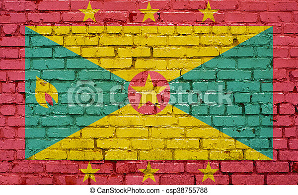 Flag of Grenada painted on brick wall, background texture - csp38755788
