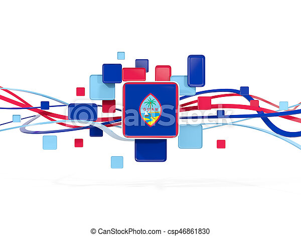Flag of guam, mosaic background with lines - csp46861830