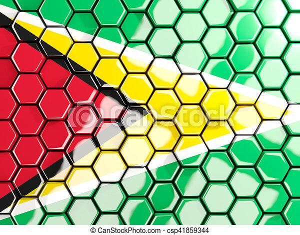 Flag of guyana, hexagon mosaic background - csp41859344