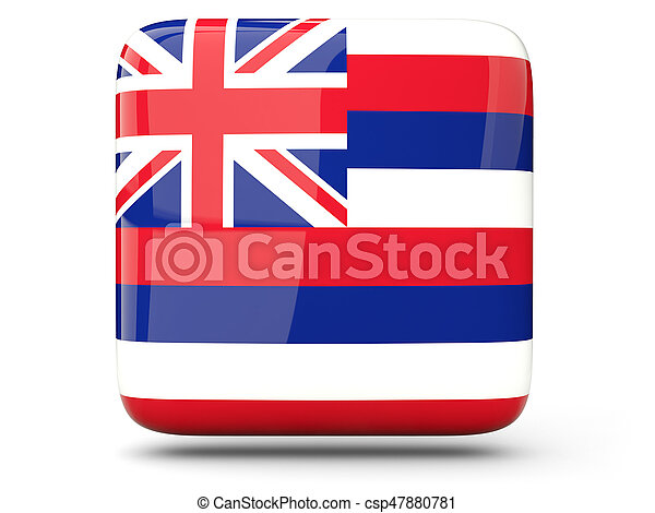 Flag of hawaii, US state square icon - csp47880781