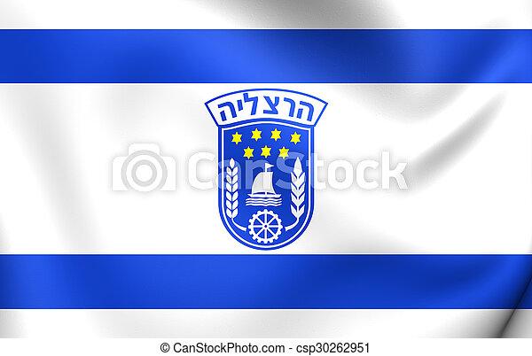Flag of Herzliya City, Israel. - csp30262951