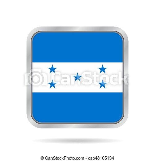 Flag of Honduras. Metallic gray square button. - csp48105134