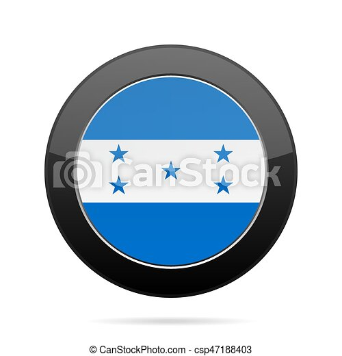 Flag of Honduras. Shiny black round button. - csp47188403