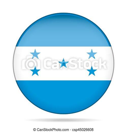 Flag of Honduras. Shiny round button. - csp45026608