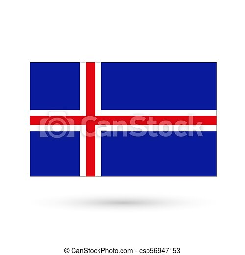 Flag of Iceland on a white background. Vector Image. - csp56947153