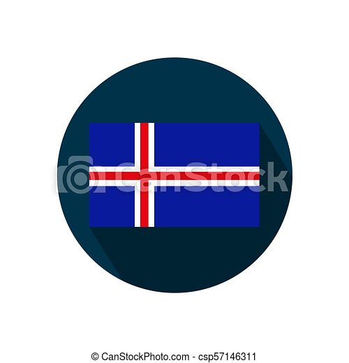 Flag of Iceland on a white background. Vector Image. - csp57146311