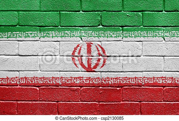 Flag of Iran on brick wall - csp2130085