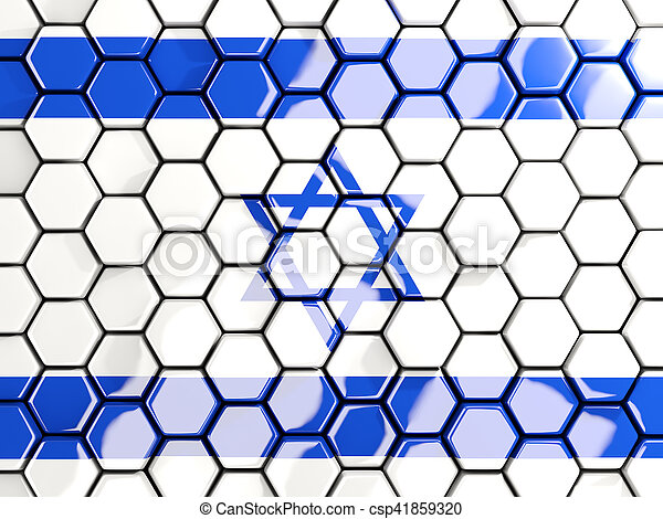 Flag of israel, hexagon mosaic background - csp41859320