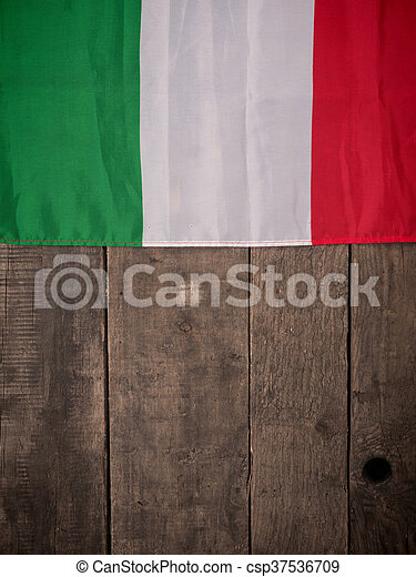 Flag of Italy on wood - csp37536709