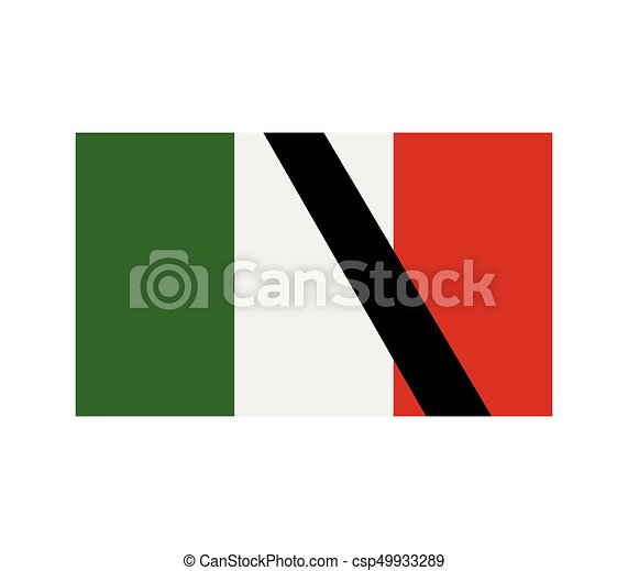 flag of italy with mourning - csp49933289