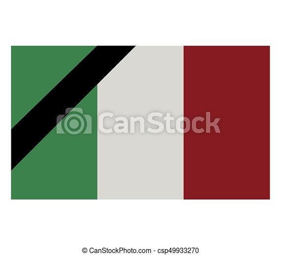 flag of italy with mourning - csp49933270