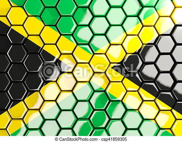 Flag of jamaica, hexagon mosaic background - csp41859305