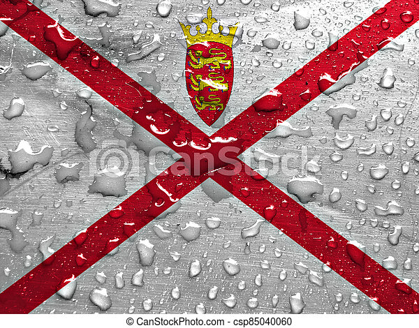 flag of Jersey with rain drops - csp85040060