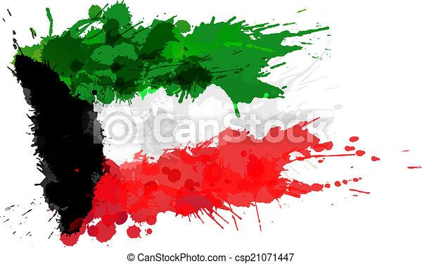 Flag of Kuwait made of colorful splashes - csp21071447