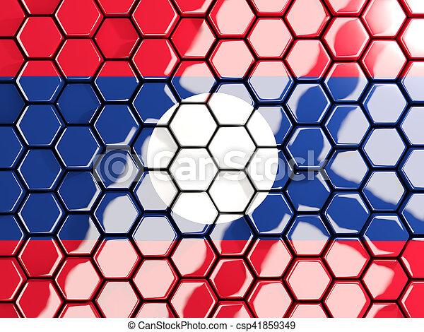 Flag of laos, hexagon mosaic background - csp41859349