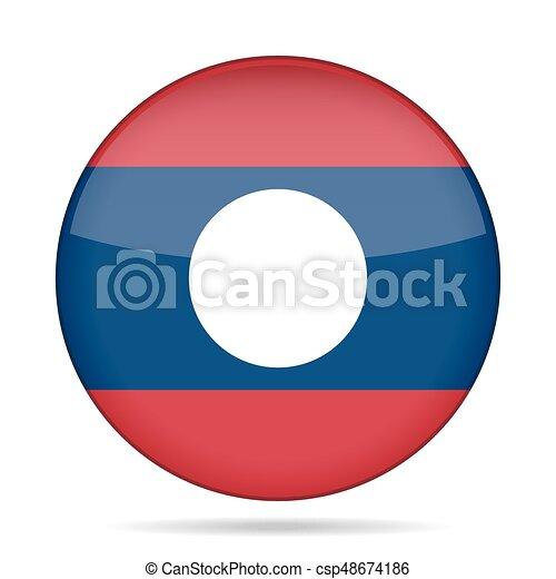 Flag of Laos. Shiny round button. - csp48674186
