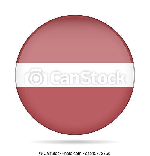 Flag of Latvia. Shiny round button. - csp45772768