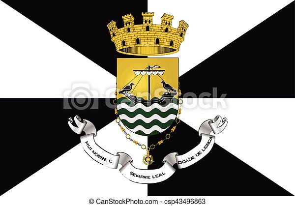 Flag of Lisbon with Coat of Arms, Portugal. Vector Format - csp43496863