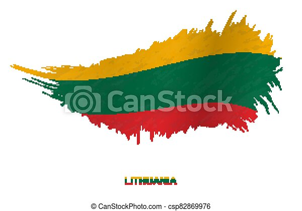 Flag of Lithuania in grunge style with waving effect. - csp82869976