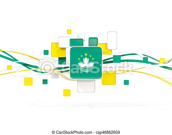 Flag of macao, mosaic background with lines - csp46862659