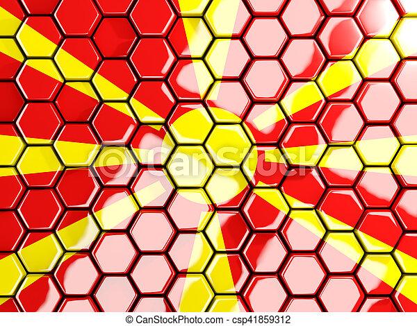 Flag of macedonia, hexagon mosaic background - csp41859312