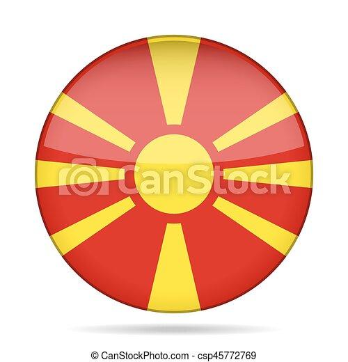 Flag of Macedonia. Shiny round button. - csp45772769