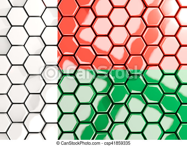 Flag of madagascar, hexagon mosaic background - csp41859335