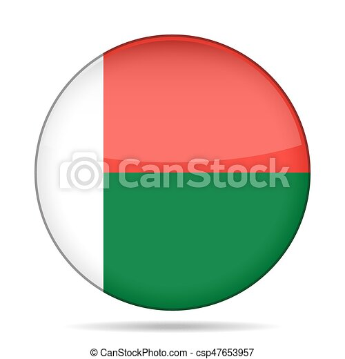 Flag of Madagascar. Shiny round button. - csp47653957