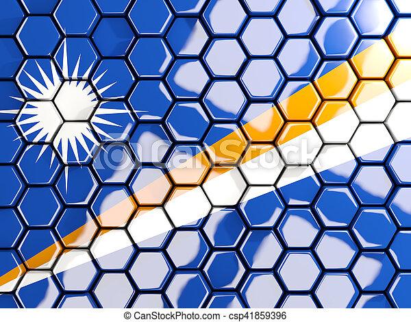 Flag of marshall islands, hexagon mosaic background - csp41859396